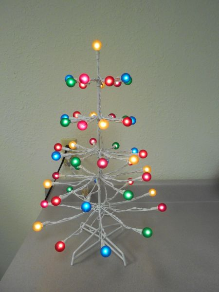 lighted white metal gumdrop tree