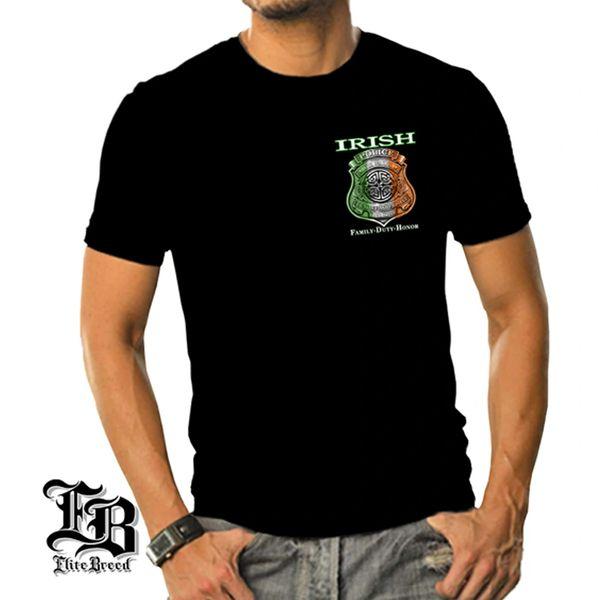 2db6ae97d08d Eliet Breed Irish American Double Sided Police T-Shirt  Black