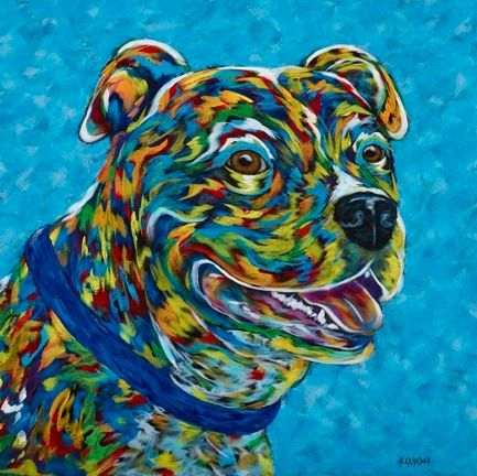 Living The Good Life - Terrier, American Staffordshire ORIGINAL PAINTING