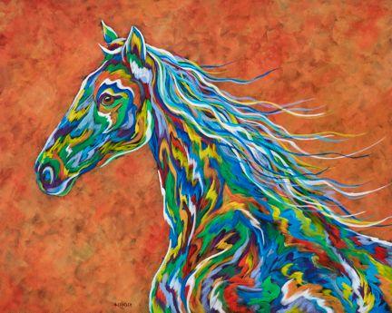 "Spirit Runner - Horse Metal Print Size 16"" x 20"""