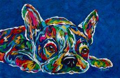 "I'm Not Moving (BLUE) - French Bulldog, Boston Terrier, Metal Print SIZE 10"" x 15"""