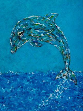 "Rise Above... - Dolphin, Metal Print Size 11"" x 14"""