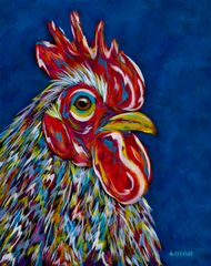 "A Little Cocky - Rooster Chicken, Metal Print SIZE 11"" x 14"""