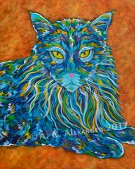 """The Maine One - Maine Coon Cat, Metal Print Size 24"""" x 30"""""""