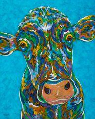 "Moo? - Cow Metal Print Size 16"" x 20"""