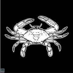 Decal All White Blue Crab