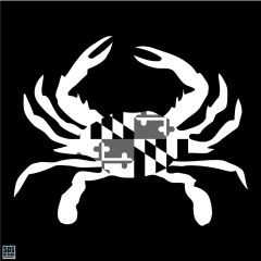 Decal White Tonal Shell Blue Crab