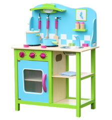 Wooden Kitchen with Accessories - Green and Blue