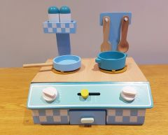 Table top wooden kitchen with accessories - blue