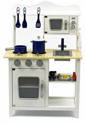 Wooden Toy Kitchen - White & Blue