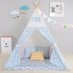 Wigwam with ground sheet - Blue and white