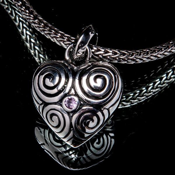 22A. Heart/SterlingSilver/PinkSapphire/Pendant