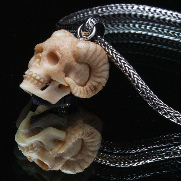 53. Horned Skull - Sterling Silver & Bone Pendant
