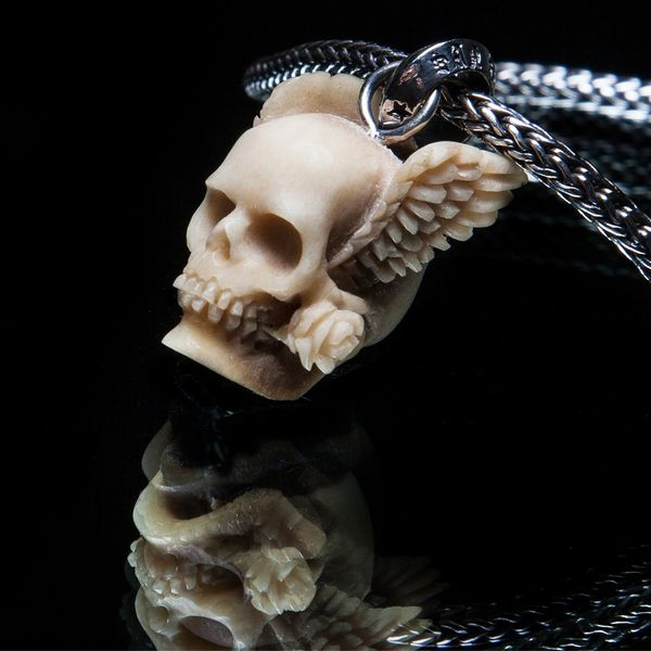 55. Winged Skull and Rose - Sterling Silver & Bone Pendant