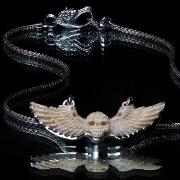 36. Skull and Wings - Sterling Silver Bone Necklace