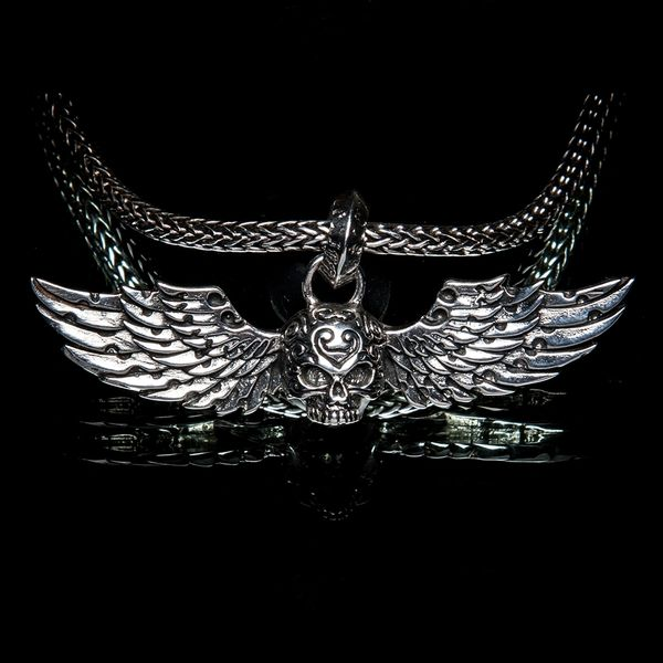 33. Skull and Wings - Sterling Silver Pendant