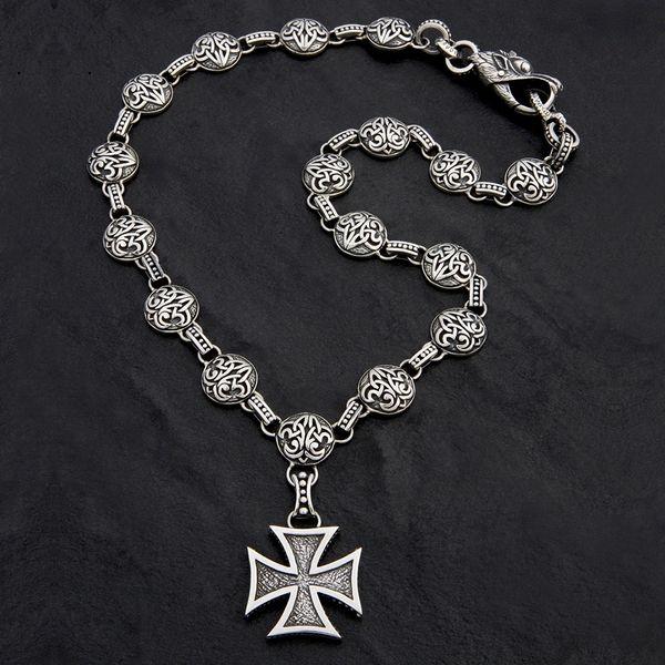 76. Maltese Cross & Fleur de Lis - Sterling Silver Necklace