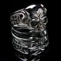 59. Skull and Cross - Sterling Silver Ring