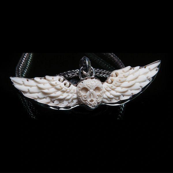 36. Skull and Wings - Sterling Silver Bone Pendant
