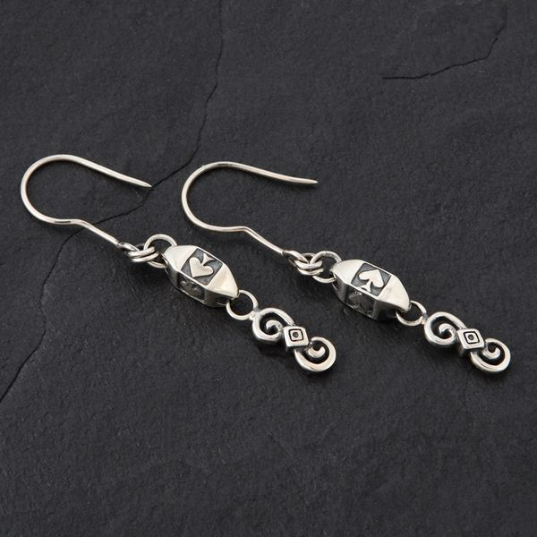 19. Ace of Spades - Sterling Silver Drop Earrings