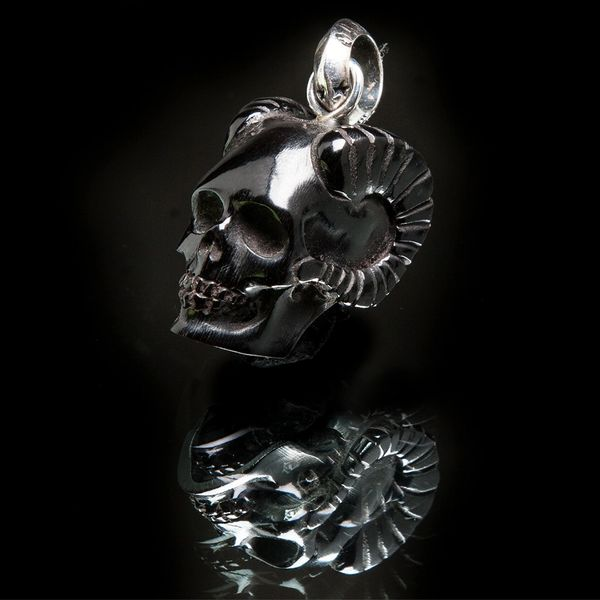 53. Horned Skull - Sterling Silver & Water Buffalo Horn Pendant