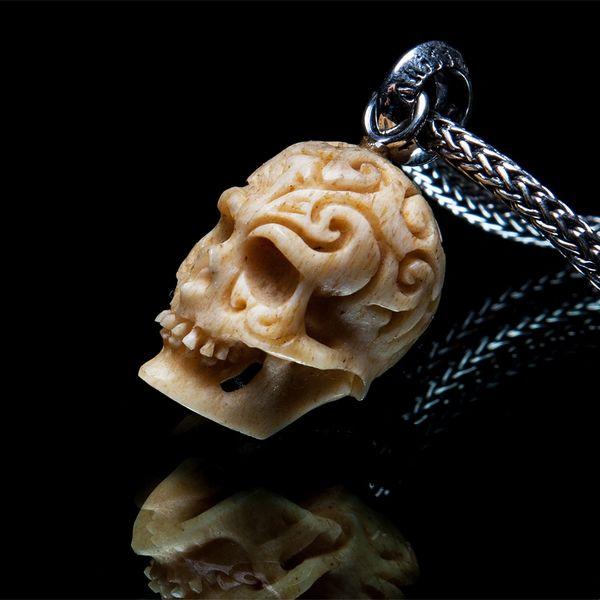 65. Tattoo Skull - Sterling Silver & Bone Pendant