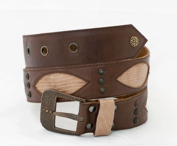 Brown Lizard - Leather Belt - 1C