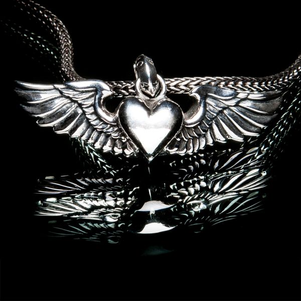 63. Heart with Wings - Sterling Silver Pendant
