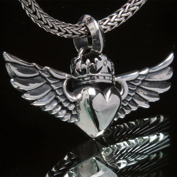 62. Heart with Wings and Crown - Sterling Silver Pendant