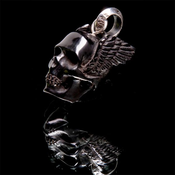 54. Winged Skull - Sterling Silver & Water Buffalo Horn Pendant