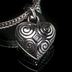 22A. Heart - Sterling Silver & Pink Sapphire Pendant