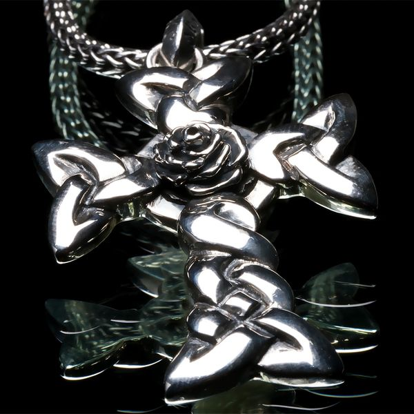 47. Celtic Cross and Rose - Sterling Silver Pendant