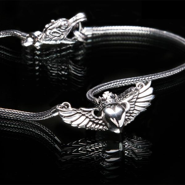 62. Heart with Wings and Crown - Sterling Silver Necklace