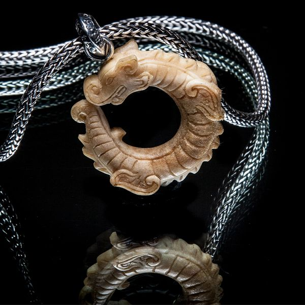 69. Chinese Dragon - Sterling Silver Bone Pendant