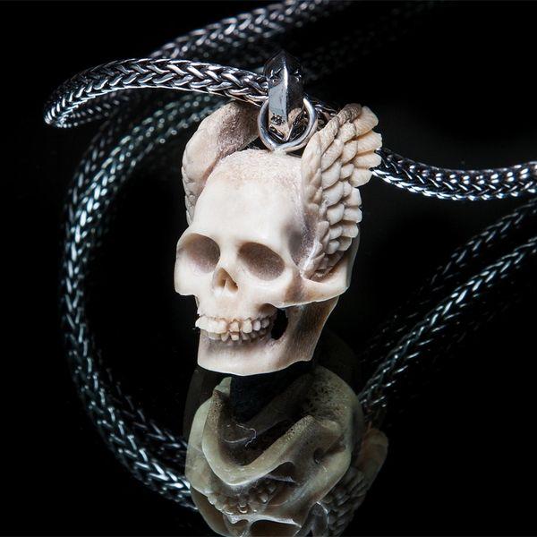 54. WingedSkull/SterlingSilver/Bone/Pendant
