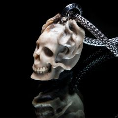 80. Skull and Flames - Sterling Silver & Bone Pendant