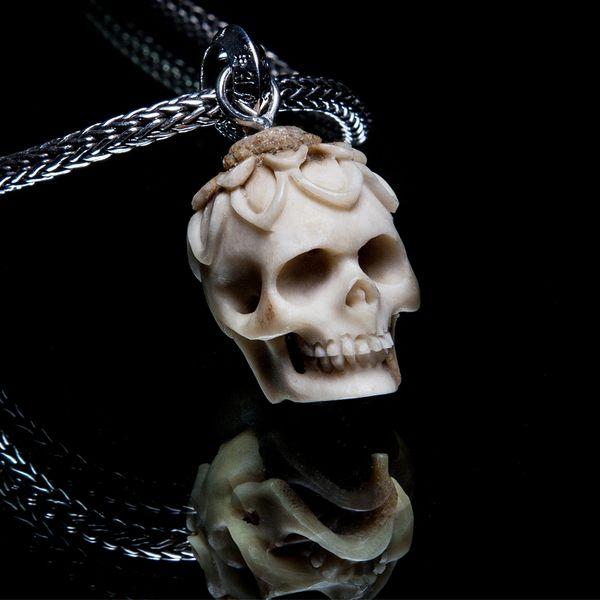 66. Lotus Skull - Sterling Silver & Bone Pendant