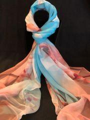Peachy Pink Light Blue/Cream (100% Silk Fee)