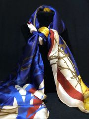 Royal Blue/Yellow/Burgundy - (50% Silk/50% Polyester)