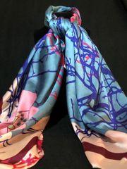 Pink/Peacock Blue/Burgundy (50% Silk/ 50% Polyester)