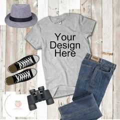 Short sleeve grey tshirt flat layout