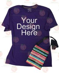 Gildan Performance short sleeve purple tshirt flat lay mock up