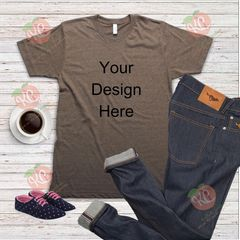 Short sleeve brown tshirt flat lay mock up