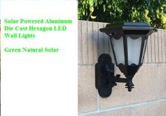 2-Pack Solar Aluminum Die-Cast Hexagon LED Wall Lights - New Arrival!