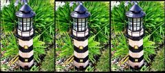 Solar Powered Dark Green/Ivory Fiberglass Lighthouse With Solar Amber LED Light - GREAT GIFT!