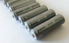 10-Pack Solar 3.2 V 600 mAh 14430 Lithium Ion (LiFePO4) Battery for Solar Lights