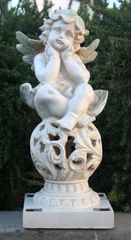 Solar Powered Angel Cherub Sculpture Sitting on Ball Solar LED Light - GREAT GIFT!!!
