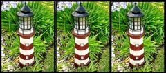 Solar Powered Red/Ivory Fiberglass Lighthouse With Solar Amber LED Light - GREAT GIFT!