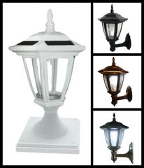 "2-Pack Solar Hexagon Light w/ Wall Mount or Fence Post Cap Base (4"", 5"" & 6"")"