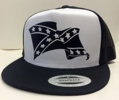 CURLED WAVE STANDARD VINYL ALL BLACK REBEL FLAG TRUCKER HAT